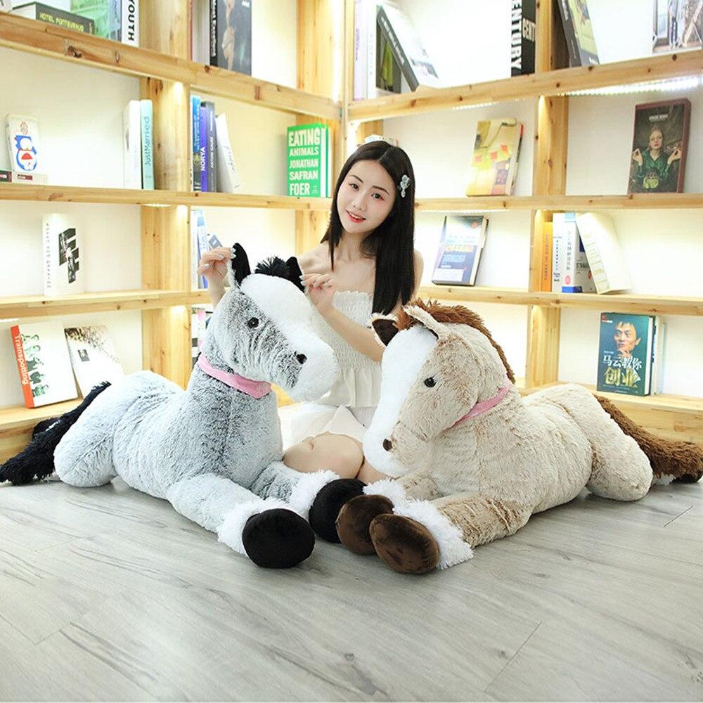 1 pièces 90 cm/130 cm cheval 2 couleurs peluche oreiller Animal en peluche poupées haute qualité classique cheval jouets pour enfants cadeau saint valentin cadeau