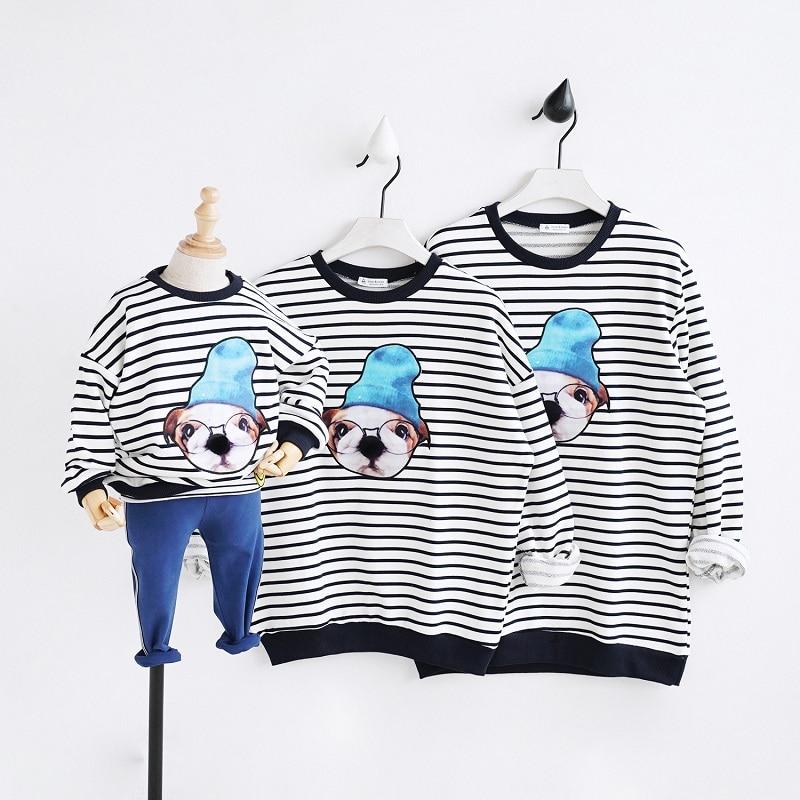 Familly Passenden Outfits Pyjamas Vater Mutter Und Tochter Kleidung Bulldog Niedlichen Hund Tier Druck Weihnachten Familie Hoodies