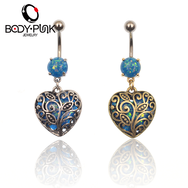 BODY PUNK BlueOpal Golden/Silver Heart-shaped Stainless Steel Belly Button Ring Body Piercing Jewelry Fashion Summer Style