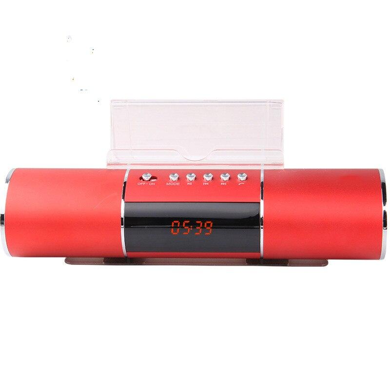 Lange Cilinder Radio Wekker Lui Ondersteuning Bluetooth Mobiele Telefoon Speakers Plug-in Audio Usb Opladen Een Klik Opname Esthetisch Uiterlijk