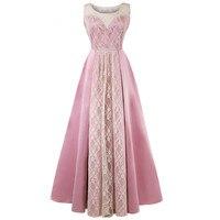 2018 Elegent Lace Pathwork Party Dresses,Maxi Women Sleeveless Vintage Dress,Party Dress Vestidos,Prom evening Long Dress Female