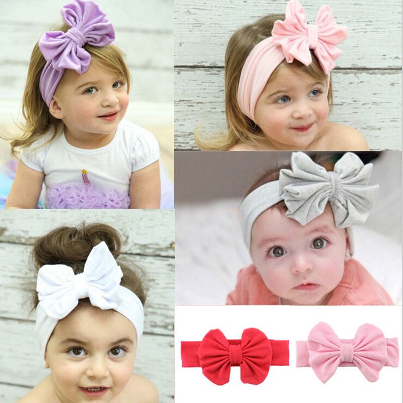 Hot Sale Infant Girls Headband Head Wraps Elastic Bands Ribbon Bows Tiara Baby Headbands Hair Accessories High Quliaty 2018 7 fashion boutique grosgrain ribbon organza breast cancer printed cheer bow with elastic hair bands for cheerleading girls