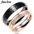 Fate love amantes românticos anéis de aço inoxidável casal jóias black rose gold cubic zirconia cz de noivado de diamante anel de casamento
