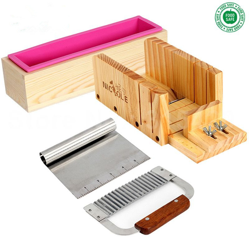 Silicone Mold Soap Making Tool Set-4 Adjustable Wooden Loaf Cutter Box 2 Pieces Soap Cutter For DIY Handmade Soaps