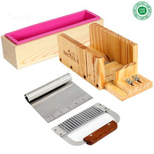цена на Adjustable Wooden Loaf Soap Cutter+Hardwood Handle Stainless Crinkle Cutter+Rolling Handle 6 Inch Tick Mark Soap Cutter+D0019
