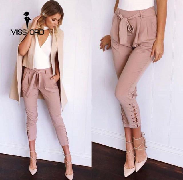 Missord 2017 Sexy apretado Cordón cinturón pantalones FT4752