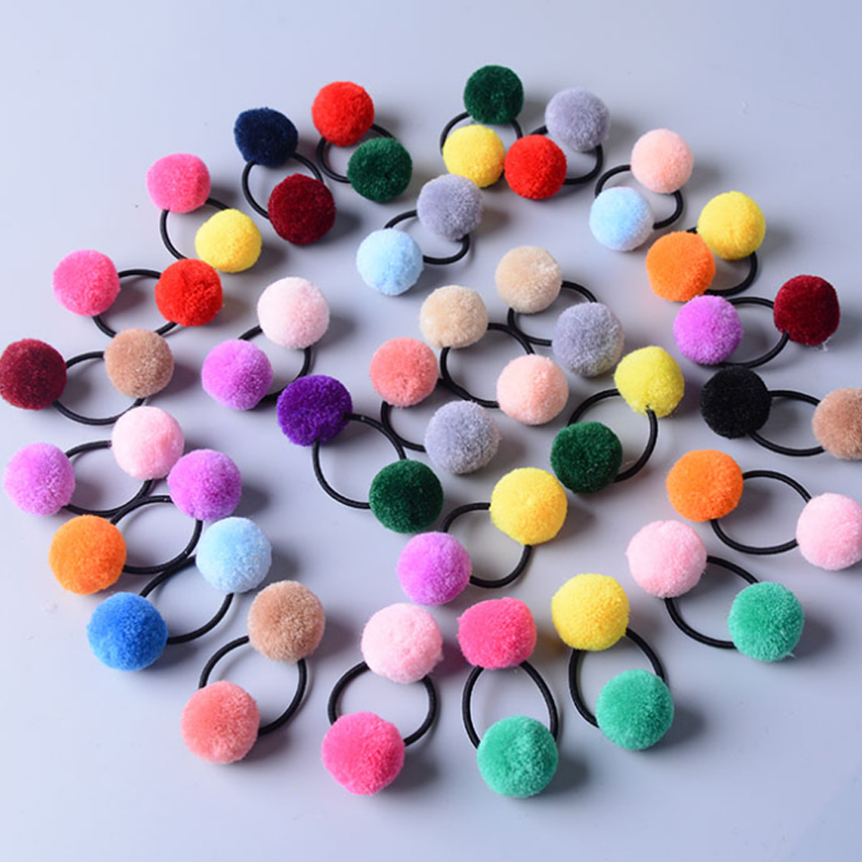 Cute Little Girls' Pompom Hair Ties Double Pom Pom Elastic Hair Band Hair Ropes Hair Accessories Ht059