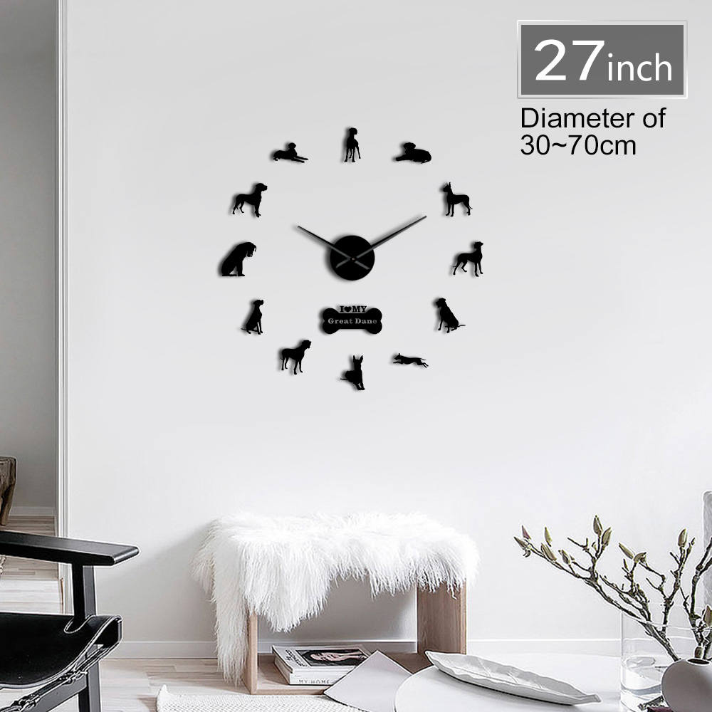 Great Dane Dog Breed 3D DIY Giant Wall Clock Personalized Long Hands Acrylic Clock Watch Animals Pet Shop Decor Kit Decoration