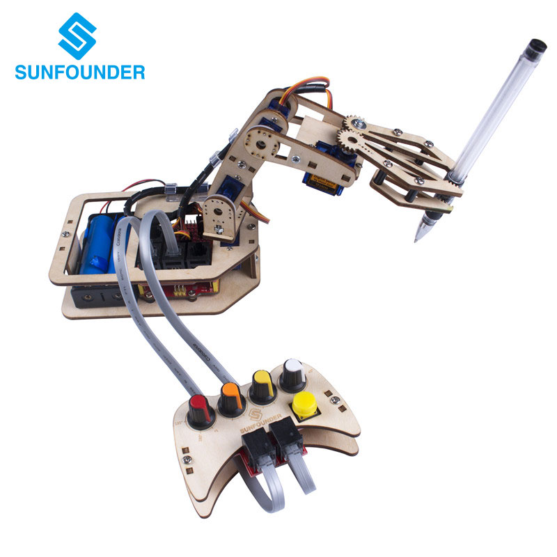 SunFounder DIY 4 Axis Wooden Servo Control Robotic Arm Kit Rollarm for Arduino