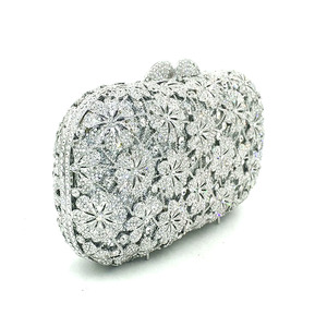 Image 3 - Women evening party bag diamonds luxury crystal clutch bridal wedding party purses bag flower chrysanthemum crystal purses