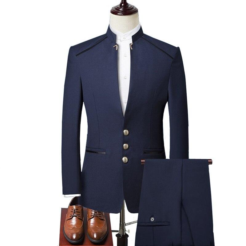Men Suit Three-piece Suit (blazer + Pants + Vest) Stand Collar Tunic Dress Dress Business Designer Brand High-end Slim Suits Men