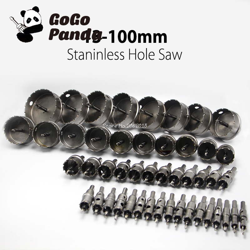 цена на 48 pcs/set 13-100mm Core Drill Bit Hard Alloy Metal Hole Saw Drill Bit for Steel Metal Alloy Cutter Metal Working