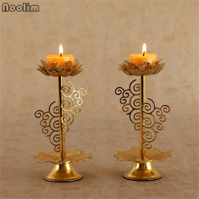 Noolim Alloy Lotus Flower Metal Candle Holders Home Decor Small