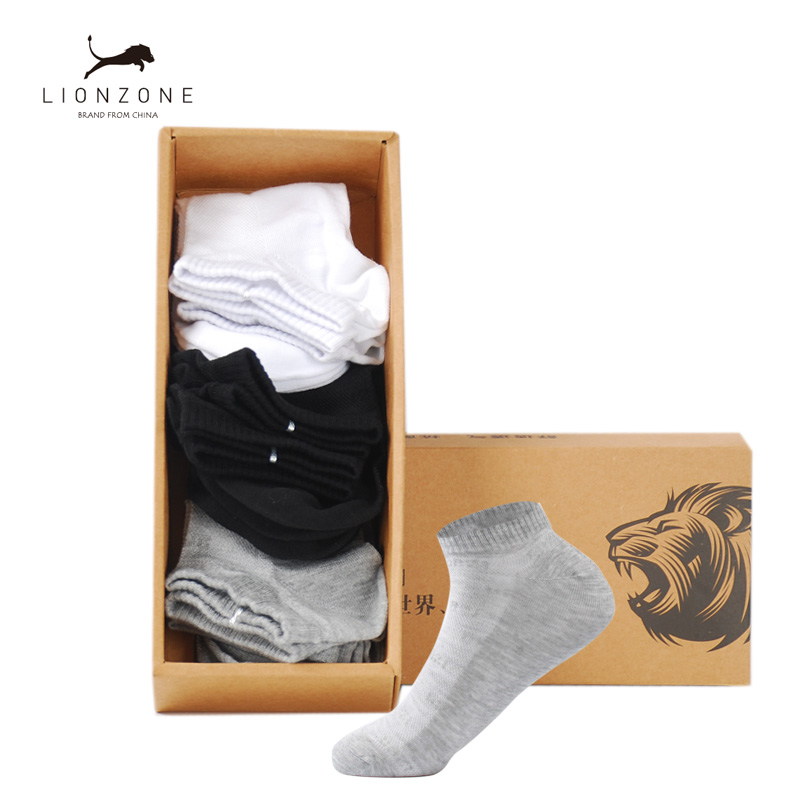 6Pairs Sporty Ankle Men Socks Pure Muti Colors New Spring LIONZONE Brand Gentleman Invisible Bamboo Socks