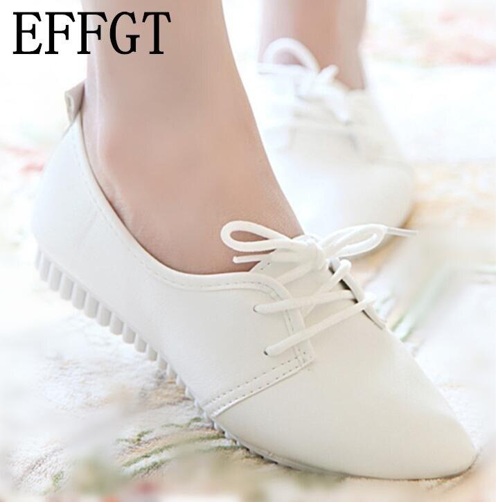 Effgt 2017 Женская обувь высокого качества Женская обувь на плоской подошве S shpes без шнуровки женская обувь на плоской подошве doudou Обувь на шнуровке Дамская обувь Бесплатная доставка N120