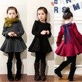 35% 1 pcs da menina das Crianças de manga Comprida 2017 Outono Inverno cashmere algodão Grosso moda babados vestido de 3 cores