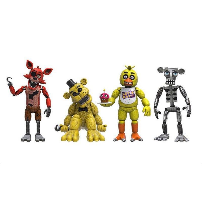 4PCS/Set <font><b>FNAF</b></font> <font><b>Freddy</b></font> <font><b>Figures</b></font> 4cm PVC Mini Five Nights At <font><b>Freddy's</b></font> Nendoroid Anime Figurines Vinyl DOll Toys