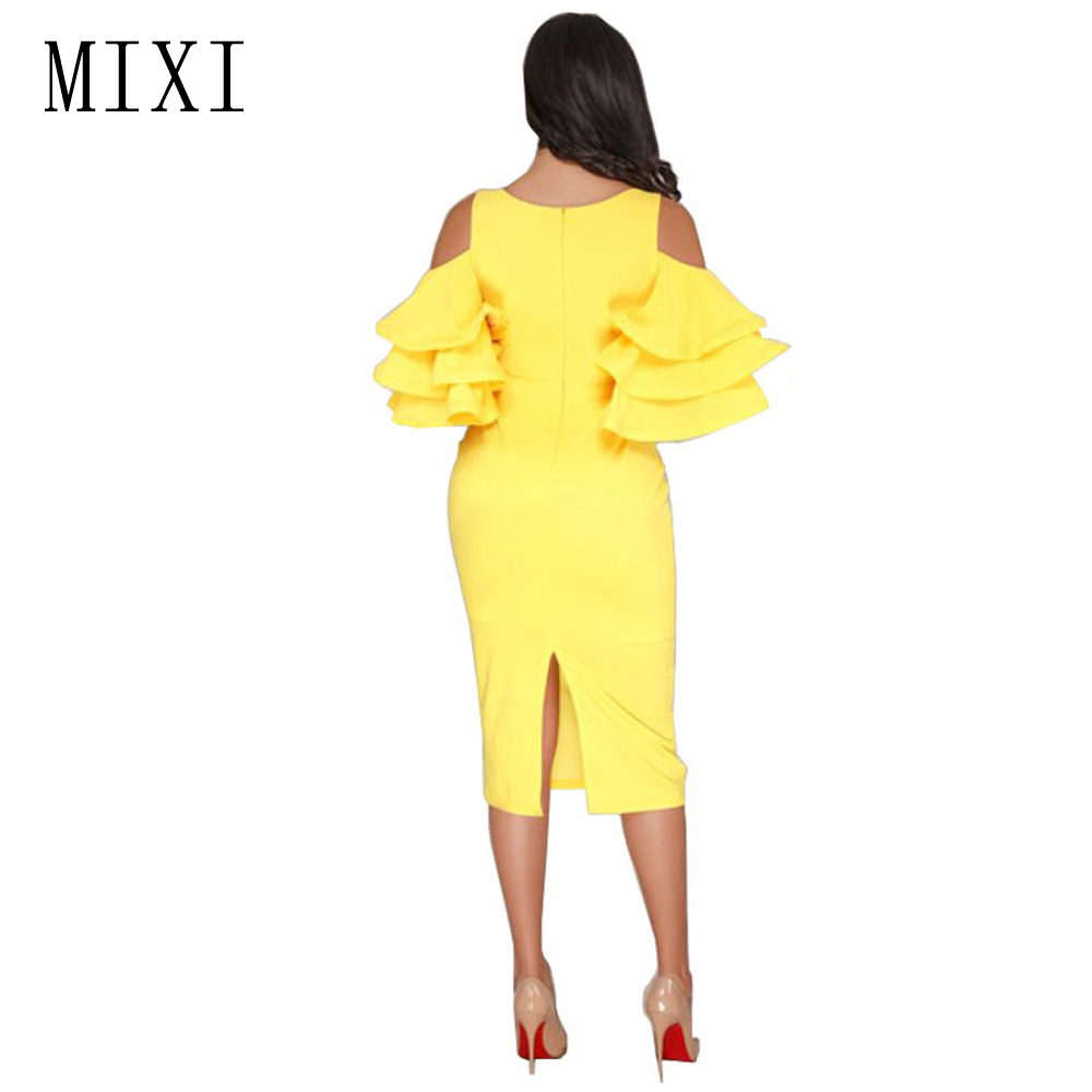 MIXI Sexy V Neck Ruffles Sleeve Pencil Dress Cold Shoulder Elegant Evening Party Dress Casual Knee Length Women Bodycon Dresses in Dresses from Women 39 s Clothing