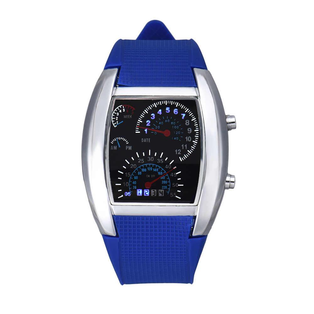 eba3f6719 ... Men's Aviation Turbo Dial Flash LED Watch Car Meter Sports Wristwatch  Gift Lady Relogios Feminino Dropship ...