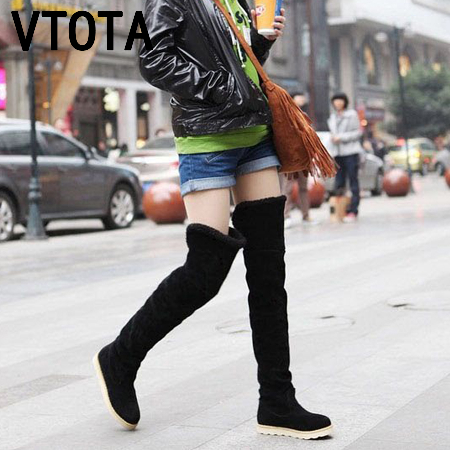 VTOTA Women Long Warm Snow Boots Plus Black Over The Knee Boots Womens Thigh High Boots Slip On Platform Botas Mujer Size 41 J55 недорго, оригинальная цена