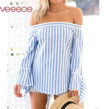 Women Female Chic Fashion Sexy Off-Shoulder Blue Vertical Striped Slim Long Sleeve Top Blouses S/M/L/XL Blusas Y Camisas Mujer