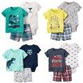 Baby Boy Лето Одежда набор Bebes Новорожденные 3 шт. набор мальчик одежда младенца мягкого Хлопка Футболку и Шорты комплект набор