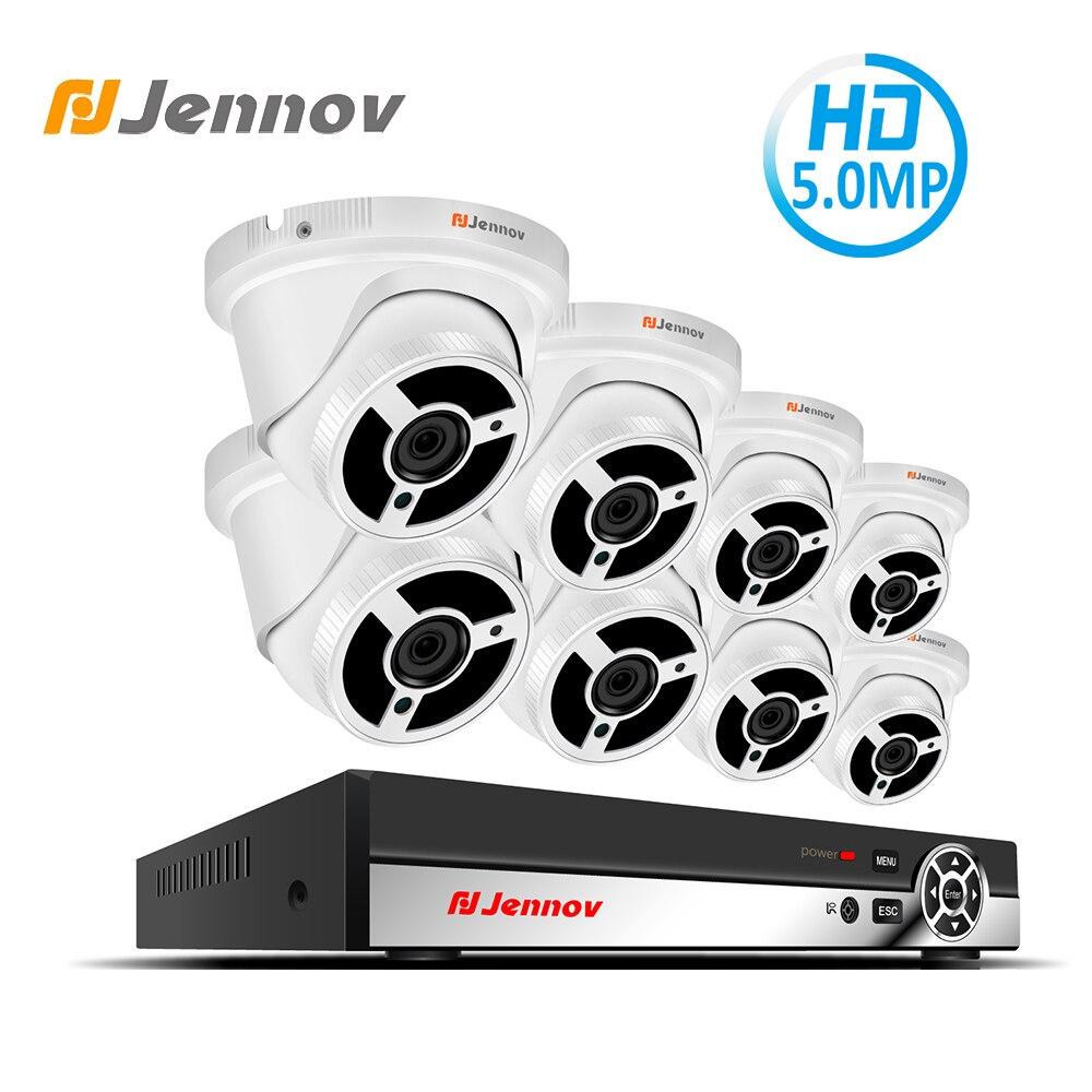Jennov CCTV Security Camera System POE 5MP H.265 IP Camera POE Video Surveillance System CCTV Camera System 8CH NVR Kit 5.0MP