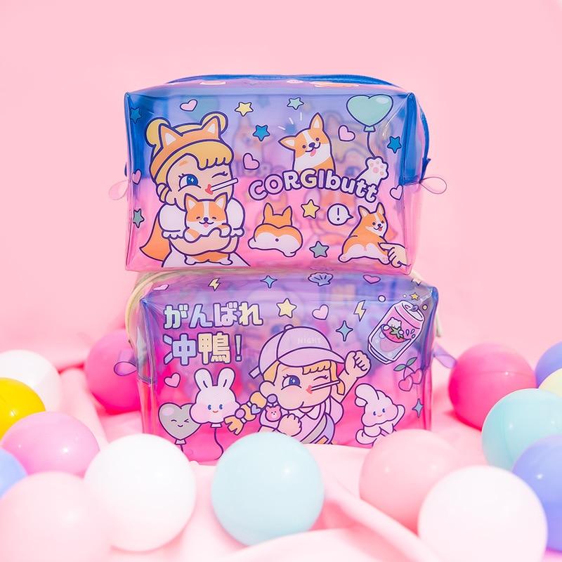 Transparent Jelly Cosmetic Bag Cartoon PVC Waterproof Large Capacity Organizer Bag Women Clutch Makeup Brush Storage Pouch