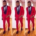 Custom Made Slim Fit Black Lapel Red Groom Tuxedos Men's Wedding Prom Suits With Pants Bridegroom Groomsman Best Man Suits