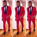 Custom Made Slim Fit Preto Lapela Do Noivo Red Smoking dos homens Ternos De Baile de Casamento Com Calças Noivo Padrinho de Casamento Best Man ternos