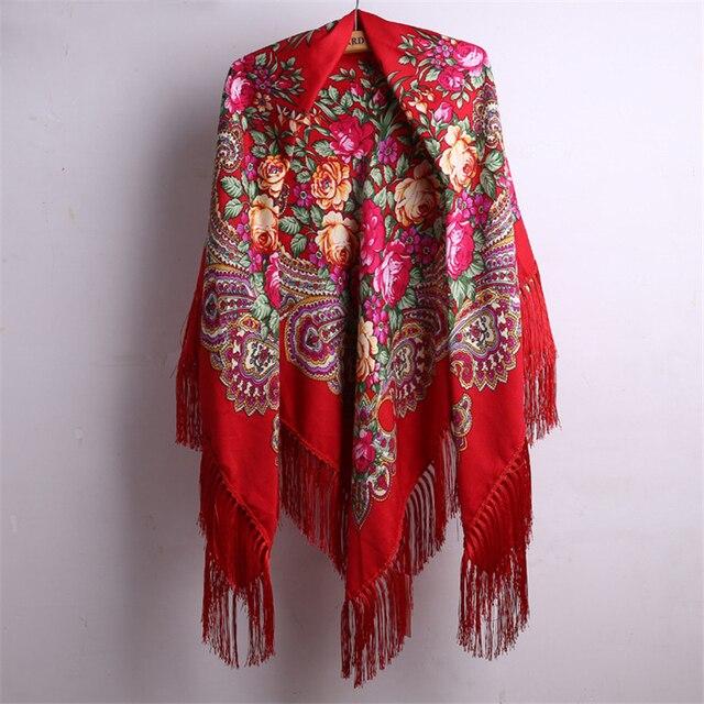cd5db22efcad 140*140 см с кисточкой русский Стиль этика цветок печати платок шаль с  длинной ...