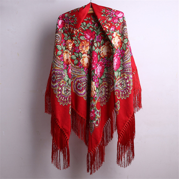 140*140cm With Tassel Russian Style Ethic Flower Printing Square Scarf Shawl Long Tassel Oversized Floral Bandana Wrap Cape 269