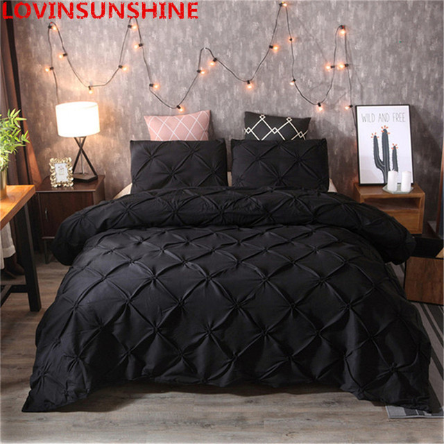 Black 2/3pcs Luxury Duvet Cover Set Pinch Pleat White/Black/Grey/Red/Blue Bedding Sets Full/Queen/King Size (No Sheet)