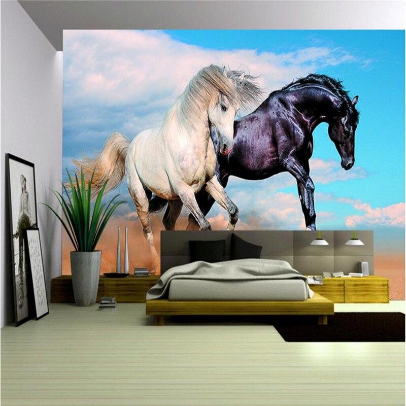buy customize size mural wallpaper background horse dance black white art wall. Black Bedroom Furniture Sets. Home Design Ideas
