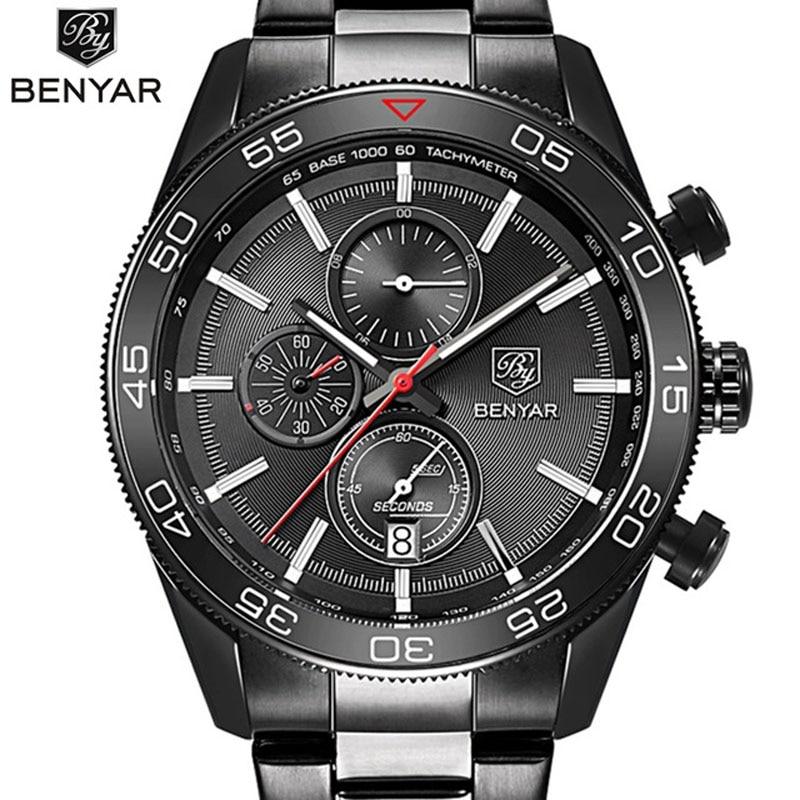 где купить Luxury Brand BENYAR Waterproof Men's Watches Full Steel Quartz Analog Army Military Sport Watch Male Clock Relogio Masculino по лучшей цене