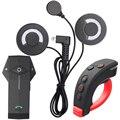 2017 El Más Nuevo Auricular Suave! BT Interphone Casco de la motocicleta de Bluetooth Intercom para 3 Piloto de Música Estéreo FM NFC Mando a distancia
