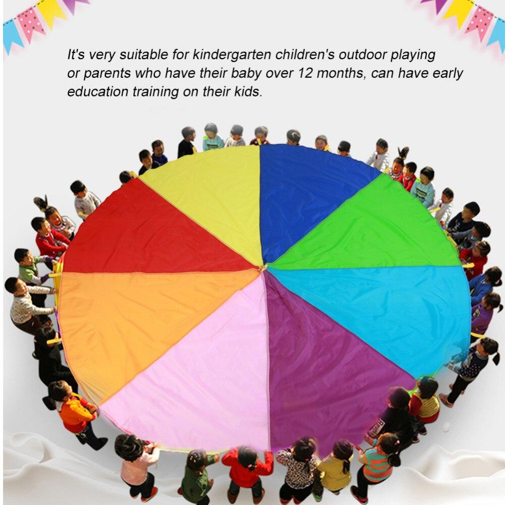 2 M/3 M Crianças Parachute Toy Jogos Ginástica Do Esporte Ao Ar Livre Brinquedo de Criança o Desenvolvimento Do Esporte Rainbow Umbrella Salto de Trabalho Em Equipe -saco Ballute