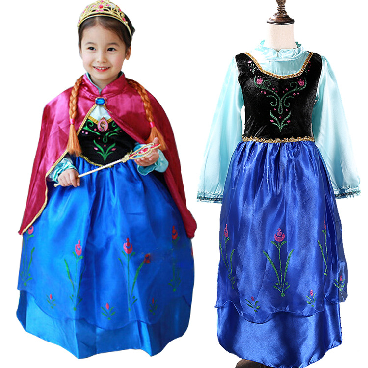 2017 Cartoon Costume For Kids Snow Queen Dress Anna Elsa Dresses Elsa Clothing Girls Brand Baby Girl Clothes Kids Tutu elsa dress sparkling snow queen elsa princess girl party tutu dress cosplay anna elsa costume flower baby girls birthday dresses