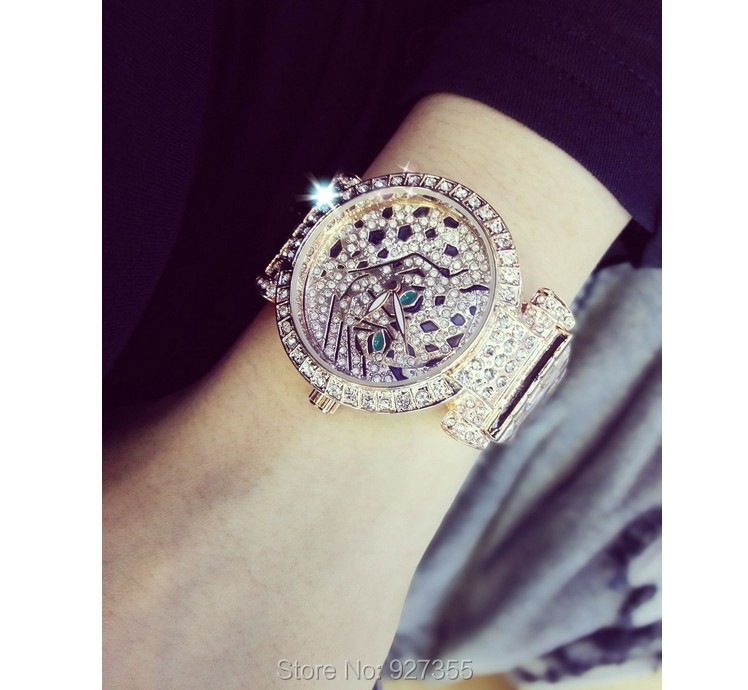 Luxury Women Rhinestone Watches Lady Diamond Dress Watch Stainless Steel Band Leopard Bracelet Wristwatch ladies Crystal Watch 4