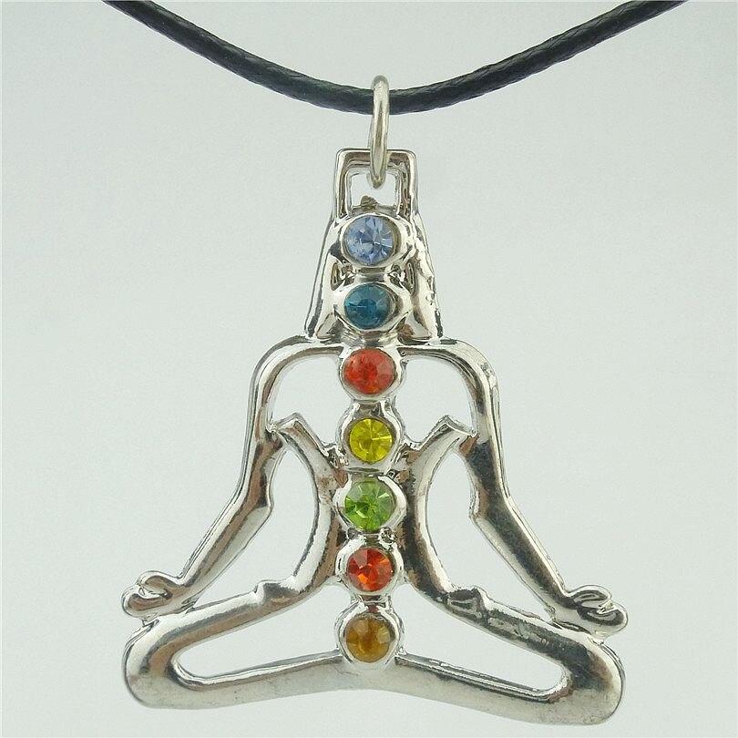 Frete grátis 15883 aleatório liga strass prata fosca yoga meditação chakra buda pingente de cristal colar de 17″