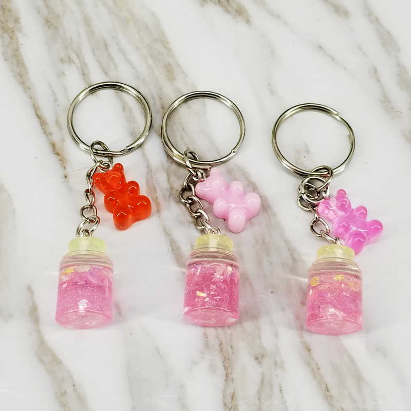 Bear Keychain Sequins Wishing Bottle Keyring Decorative Pendants for Women Bags Car Key Phone Accessories Wedding Party Gifts