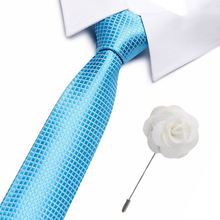 New Style Fashion Mens Solid Colourful Tie silk Ties Necktie Normal Slim 7.5cm Classic Woven Cravate set with brooch