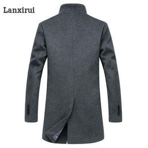Image 4 - 남성 모직 코트 겨울 긴 섹션 두꺼운 모직 코트 남성 스탠드 칼라 캐주얼 Casaco masculino palto Peacoat Overcoat Parka