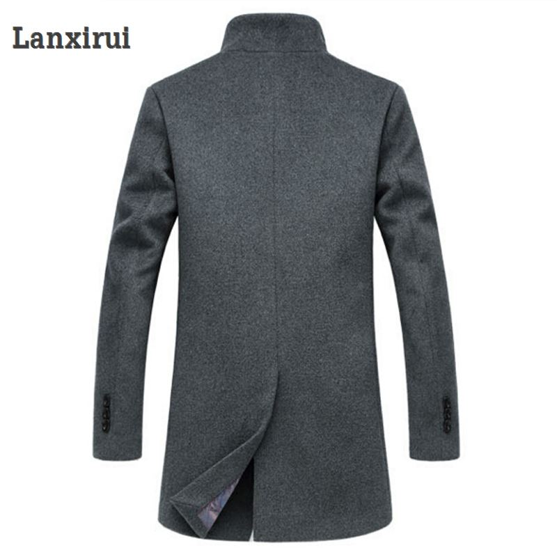 Image 4 - Men's Wool Coat Winter Long Sections Thick Woolen Coats Men Stand Collar Casual Casaco masculino palto Peacoat Overcoat Parka-in Jackets from Men's Clothing