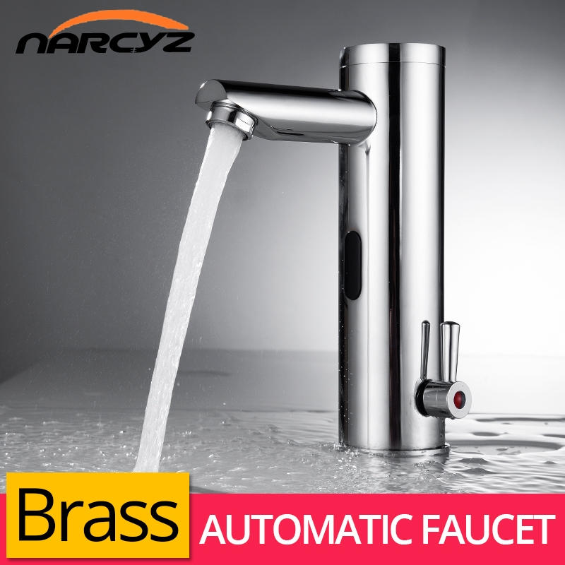 Basin Faucet Sensor Bathroom Automatic Hands Touch Free Water Saving Inductive Electric Water Tap Battery Power