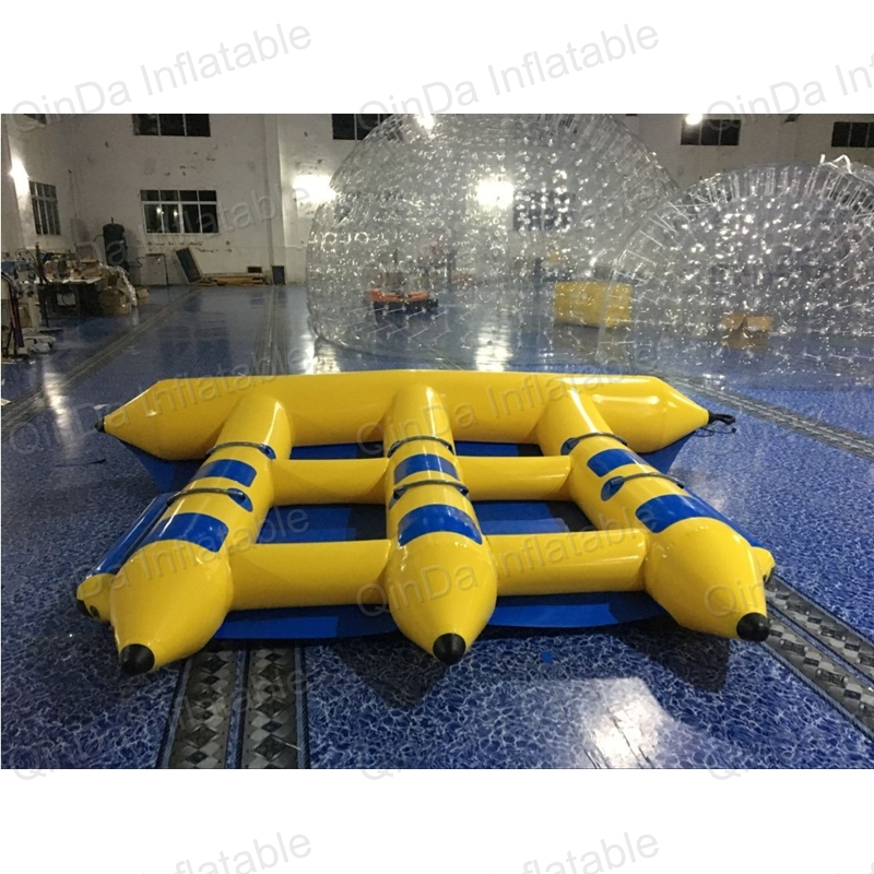 Exciting water games inflatable flying banana boat of water sports equipment inflatable flying fish banana boat for adult 4 1m red colour inflatable towable tube crazy ufo flying boat inflatable water sofa for summer water park