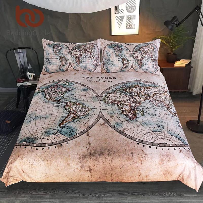 BeddingOutlet World Map Bedding Set Geography Duvet Cover Set Vintage Hemisphere Map Home Textiles Brown Blue Bedclothes 3pcs
