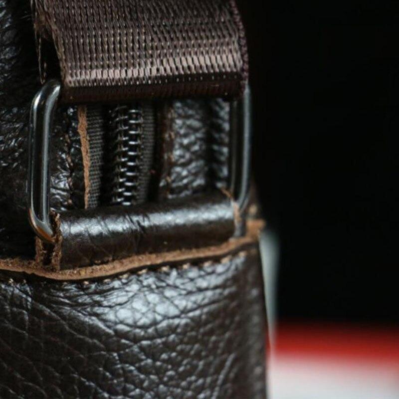 homens de couro genuíno sacolas Tipo de Fecho : Zíper e Fecho