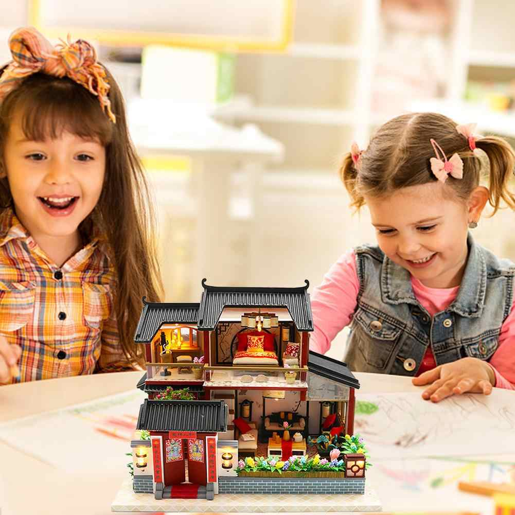 Кукольный дом китайский Стиль отель миниатюрный кукольный набор игрушек Деревянный Ретро магазин дом с мебелью игрушки для детей без чехла