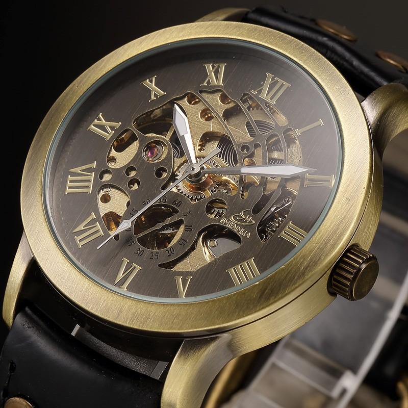 e1b13c6fe7d Estilo Retro Bronze Relógio Masculino Relogio masculino Mens Steampunk Esqueleto  Auto Mecânica Relógio de Pulso relógio de Pulso AutomáticoUSD 18.97-22.26   ...